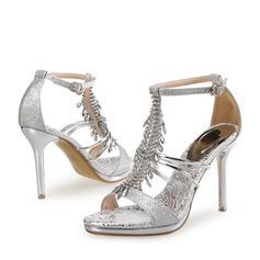 Women's Sparkling Glitter Stiletto Heel Pumps Sandals With Rhinestone Sparkling Glitter Crystal