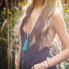 gyönyörű Divatos Egzotikus Fa gyöngyök -Val bojt Női nyakláncok
