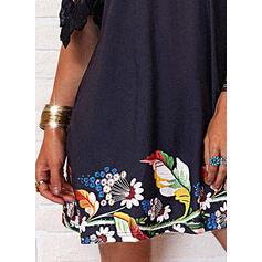 Encaje/Impresión/Floral Mangas 1/2 Tendencia Sobre la Rodilla Casual Túnica Vestidos