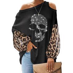 Pailletter Leopard Kold skulder Lange ærmer Casual Strikning Skjorter