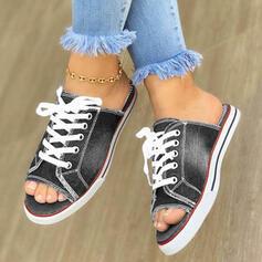 Femmes Toile Talon plat Sandales À bout ouvert Escarpins avec Dentelle chaussures