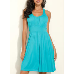 Lace/Solid Sleeveless A-line Above Knee Casual/Vacation Skater Dresses