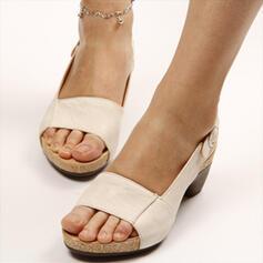 Femmes PU Talon bottier Sandales Escarpins À bout ouvert avec Boucle chaussures