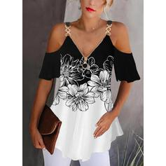 Druck Farbblock Blumen Schulterfrei 1/2 Ärmel Lässige Kleidung Blusen
