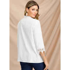 Lace V-Neck 3/4 Sleeves Button Up Casual Blouses