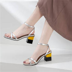Women's PU Chunky Heel Sandals Pumps Peep Toe With Rhinestone shoes