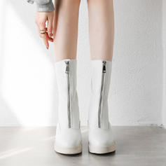 Women's Leatherette Low Heel Boots Mid-Calf Boots Riding Boots With Zipper shoes