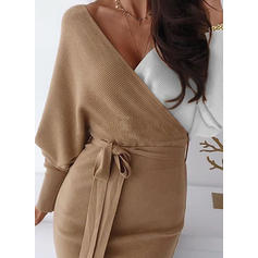 Color Block Long Sleeves Bodycon Knee Length Casual Sweater/Pencil Dresses