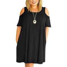 Solid Cold Shoulder Sleeve Shift Above Knee Little Black/Casual Dresses