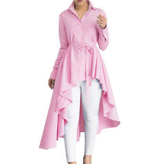 Striped Lapel Long Sleeves Casual Ruffle Blouses