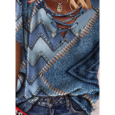Nadruk Dekolt w kształcie litery V Krótkie rękawy Nieformalny Bluzki