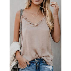 Solid Spaghetti Strap Sleeveless Casual Sexy Blouses