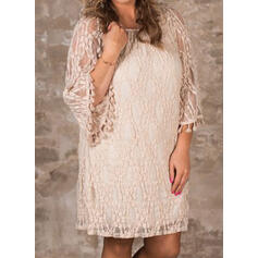 Plus Size Lace Solid 3/4 Sleeves Shift Above Knee Casual Elegant Dress