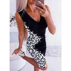 Leopard Sleeveless Bodycon Knee Length Casual Dresses