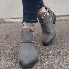 Women's Suede Flat Heel Ankle Boots shoes