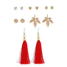 Leaves Shaped Alloy Women's Earrings (Set of 6 pairs)