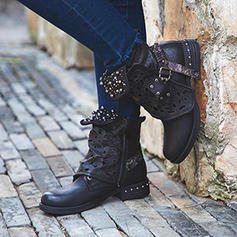 Women's PU Low Heel Pumps Boots Ankle Boots With Rivet Buckle shoes