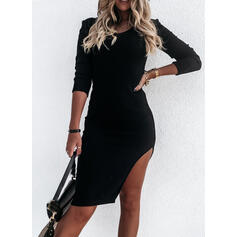 Solid Long Sleeves Bodycon Knee Length Little Black/Casual Pencil Dresses