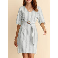 Striped 1/2 Sleeves A-line Above Knee Casual/Elegant Dresses