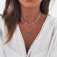 Hottest Layered Alloy With Gem Sun Necklaces (Set of 3)