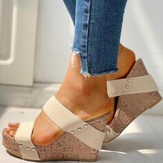 Pentru Femei PU Platforme Înalte Sandale Puţin decupat în faţă Şlapi cu Nit pantofi