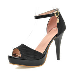 Women's Leatherette Stiletto Heel Sandals Pumps Platform Peep Toe With Buckle shoes