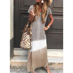 Color Block Short Sleeves Shift Casual Maxi Dresses