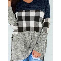 Color block Plaid V-hals Lange ærmer Casual Skjorter