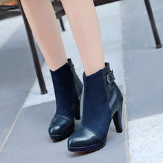 Femmes Suède Similicuir Talon stiletto Escarpins Bottes Bottines avec Zip chaussures