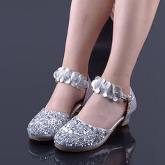 Girl's Leatherette Round Toe Closed Toe Flower Girl Shoes With Crystal