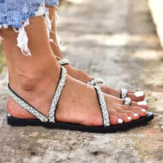 Dámské PU Placatý podpatek Sandály Boty Bez Podpatku S otevřenou špičkou Pantofle Prst prst S Napodobenina drahokamu Vydlabaný obuv
