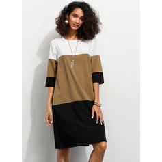 Color-block 1/2 Sleeves Shift Knee Length Casual Dresses