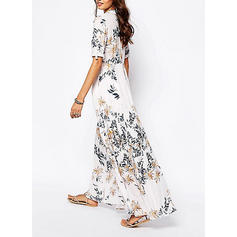 Print 1/2 Sleeves A-line Maxi Casual Dresses