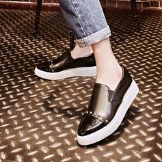 Femmes PU Talon plat Chaussures plates Plateforme avec Élastique chaussures