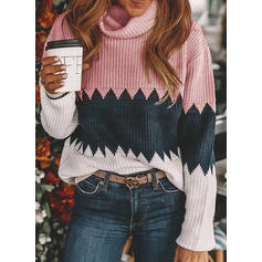 Color Block Cowl Neck Sweaters