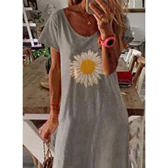 Print/Floral Short Sleeves Shift T-shirt Casual Maxi Dresses
