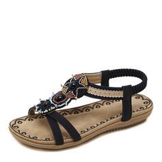 Femmes Similicuir Talon plat Sandales À bout ouvert Escarpins avec Brodé Perle d'imitation Élastique chaussures