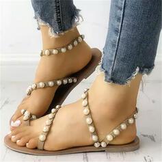 Femmes PU Talon plat Chaussons avec Perle d'imitation chaussures