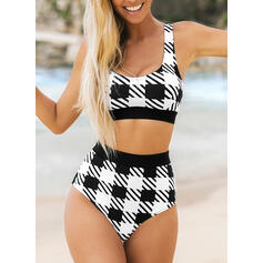 Stripe High Waist Strap U-Neck Vintage Fresh Bikinis Swimsuits
