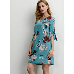Print/Floral 1/2 Sleeves Shift Above Knee Casual/Elegant Dresses