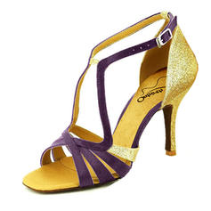 Women's Latin Heels Sandals Sparkling Glitter With Buckle Latin