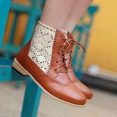 Donna PU Tacco spesso Stivali alla caviglia con Allacciato Cava-out scarpe