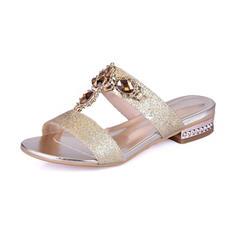 Femmes Pailletes scintillantes Talon bas Sandales Chaussures plates À bout ouvert Chaussons avec Strass Cristal chaussures