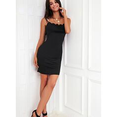 Solid Sleeveless Sheath Above Knee Little Black/Elegant Slip Dresses