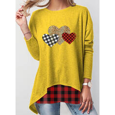 Grid Leopard Heart Round Neck Long Sleeves Sweatshirt