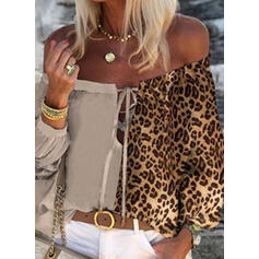 Leopardo Sin Hombros Mangas 3/4 Casual Blusas