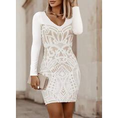Print Long Sleeves Bodycon Above Knee Little Black/Elegant Dresses
