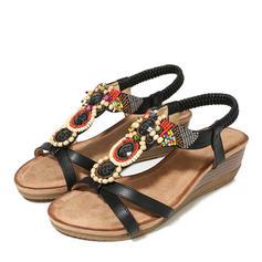 Femmes PU Talon compensé Sandales Compensée avec Brodé chaussures