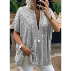 Solid Sequins V-Neck Short Sleeves Casual Blouses