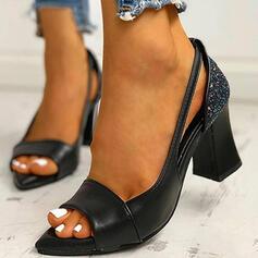 De mujer PU Tacón ancho Salón Encaje con Rhinestone zapatos
